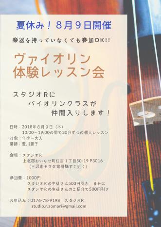 『【夏休み特別企画】ヴァイオリン体験レッスン会】